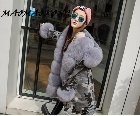 Multi-Color Luxury Women Winter Coat Jacket Thick Rex Rabbit Fur liner Lady parkas Fox Fur Hooded and Cuff free