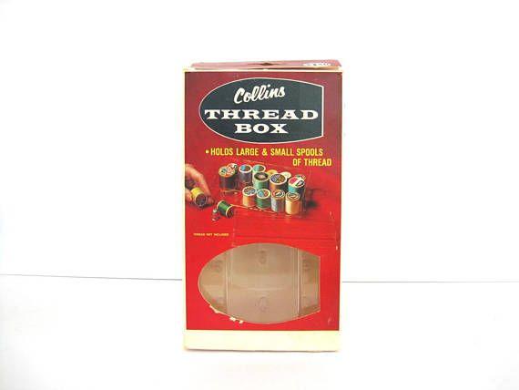 Vintage Thread Storage Box Clear Plastic Spool Organization
