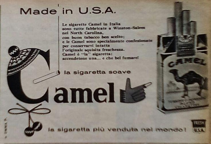 """La pubblicità negli anni 50 """" #sigarette #Camel """" dalla rivista settimanale """"Tempo"""" 1956."""
