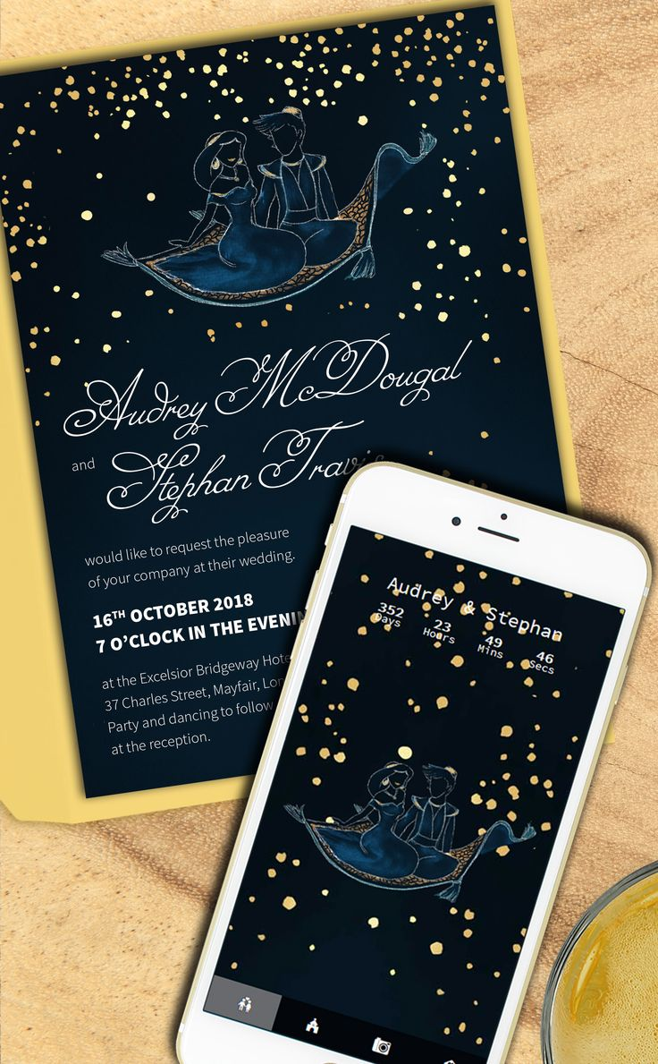 Aladdin Starry Night invitation suite with webapp in the same design
