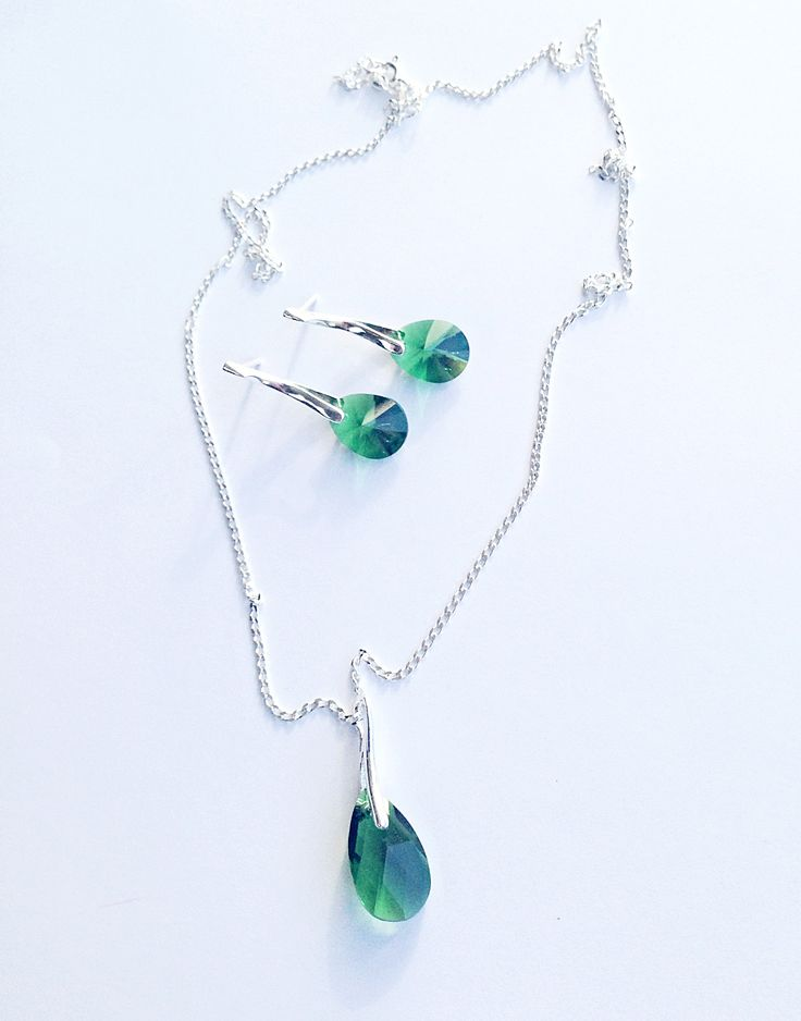 Swarovski crystals earrings and necklace made by FloFlorina Jewelry