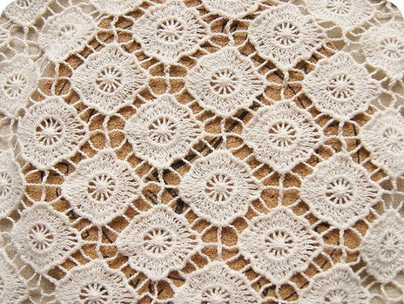 Crocheting On Fabric : Lace Fabric , ecru cotton lace , 3D hollowed crochet M54 , bridal lace ...