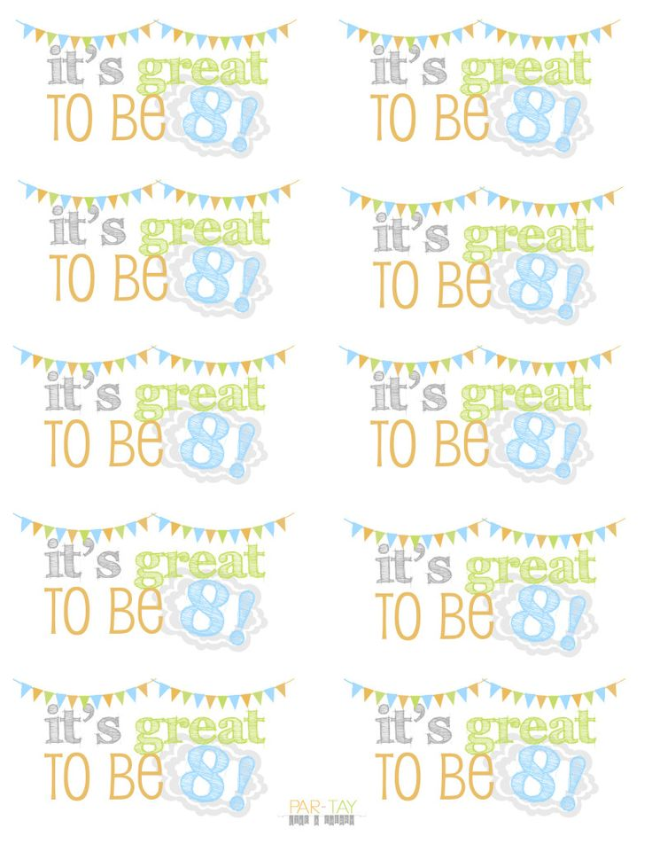 Its great to be 8- free printable tags for birthday party favors, gifts and more.