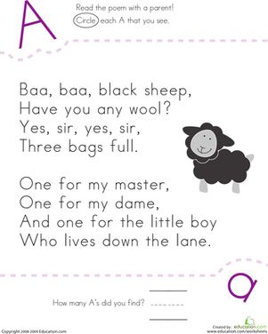 """""""Baa, Baa, Black Sheep"""" poem? Kids find and count each letter A in the rhyme on this kindergarten reading worksheet."""