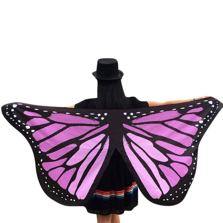 Malltop Ladies Eye-catching Fairy Nymph Elf Soft Fabric Butterfly Peacock Wings Party Parade Event Costume Accessory