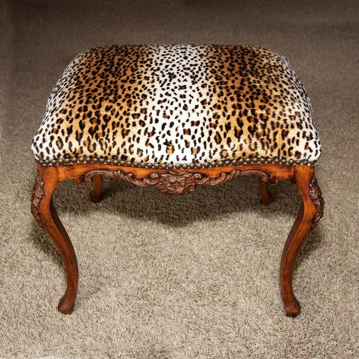 Antique to vintage carved country french bench stool Leopard print bench
