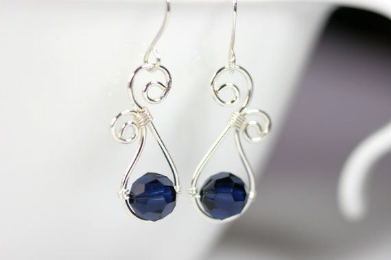 Dark Blue Swarovski Earrings Wire Wrapped Jewelry Handmade Sterling Silver Jewelry Handmade Swarovski Crystal Earrings Swarovski Crystal Jew