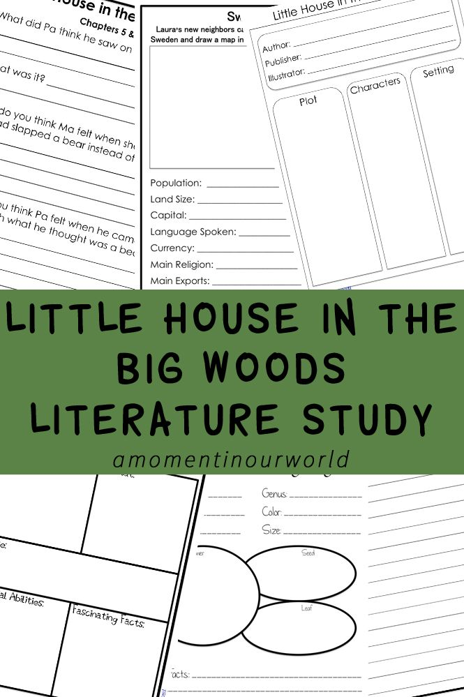 Learn about the Ingalls Family with this Little House in the Big Woods Literature Study, the first book in the Little House Series by Laura Ingalls Wilder.