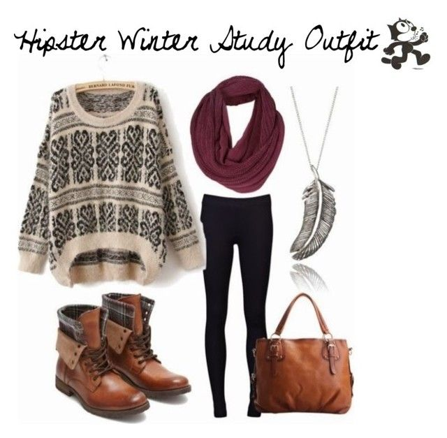 """""""Hipster Winter Study Outfit"""" by ashywashyirwin ❤ liked on Polyvore"""