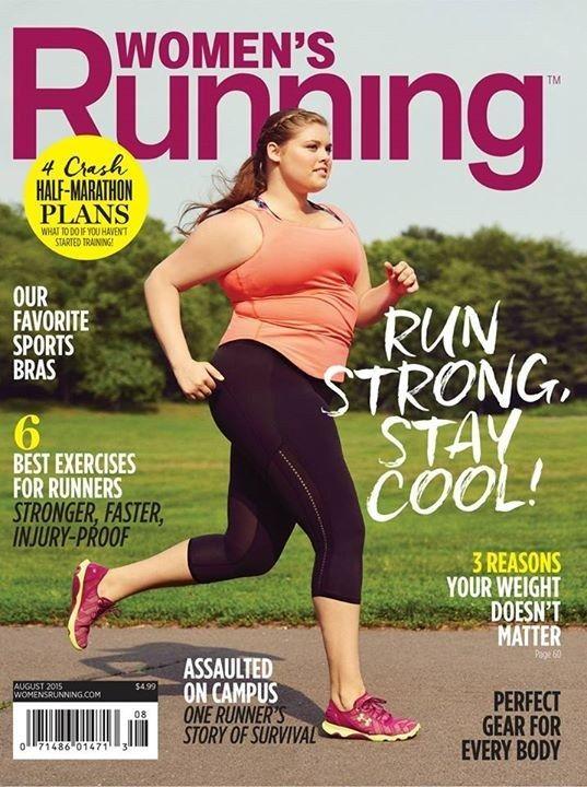 Pour son édition d'août 2015, le magazine de jogging Women's Running a mis en une le mannequin grande taille Erica Schenk. | Un mannequin grande taille fait la une d'un magazine de jogging américain