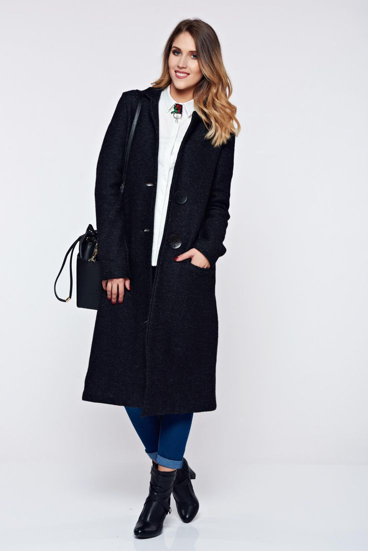 PrettyGirl black trenchcoat casual thick fabric with pockets, women`s coat, with buttons, with pockets, inside lining, thick fabric