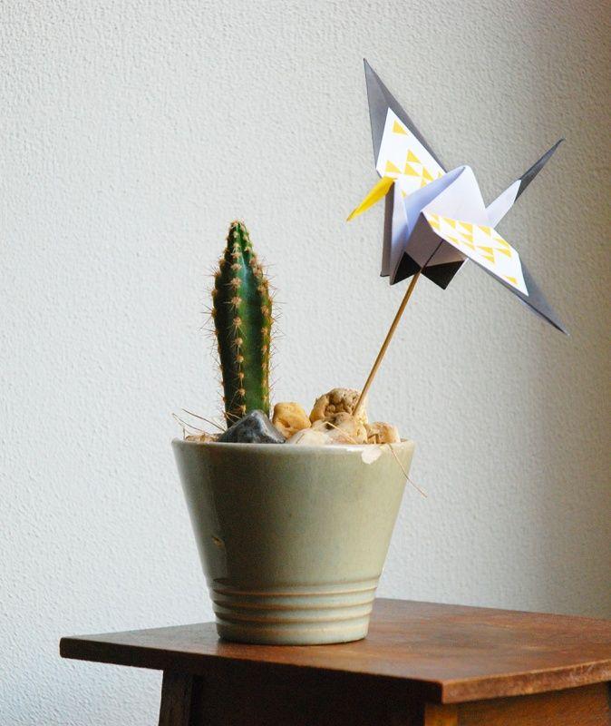 Origami vouwblok Good Luck Stork Mosterd