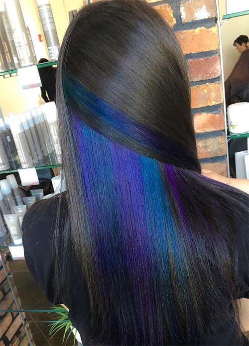 Dark Hair Colors Deep Black Hair Colors Hairstyles Darkhair Hair Color For Black Hair Hidden Hair Color Peekaboo Hair