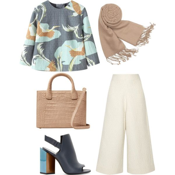 Untitled #49 by calistafr on Polyvore featuring Chicnova Fashion, CO, Pierre Hardy, Emily Cho, Forzieri, simpleoutfit, hijab, StyledByMe and culottes