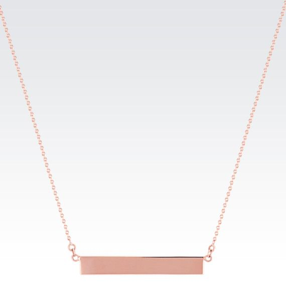 14k Rose Gold Bar Necklace (18 in.) from Shane Co.