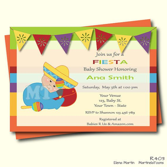Mexican Baby Shower Invitation Mexican Fiesta by MartinelaToons                                                                                                                                                      More