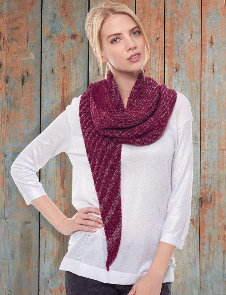 Patons Glam Stripes - Asymmetrical Scarf Free Knitting Pattern Knitting ...