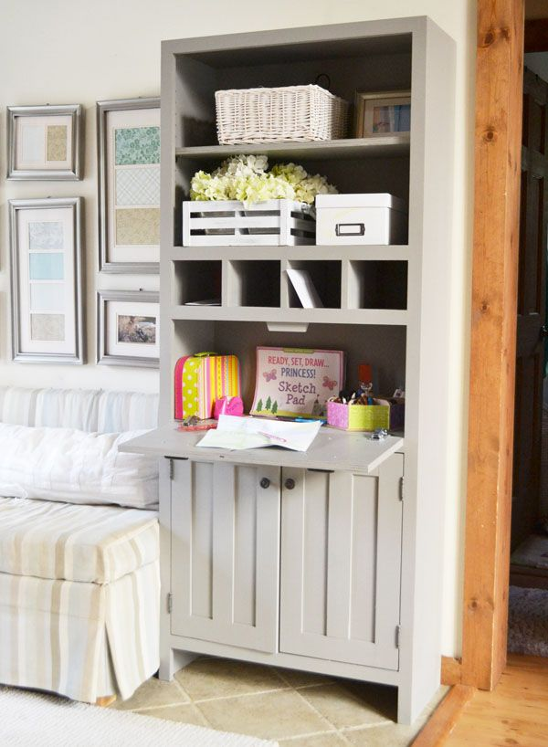 Ana White | Build a Tall Secretary Cabinet with Mail Slots | Free and Easy DIY Project and Furniture Plans - the little desk on this flips up, looks like a pair of drawers when closed.  Could I retrofit this onto a bookshelf?  Could this make a good sewing and craft stand/shelf?