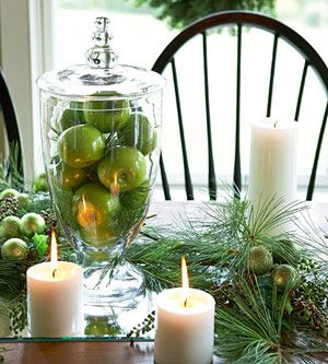 What a pretty table setting for a Christmas meal.  I love this color green and it doesn't get much easier than using some ornaments that you probably already have and mixing them with some fresh cut evergreen.