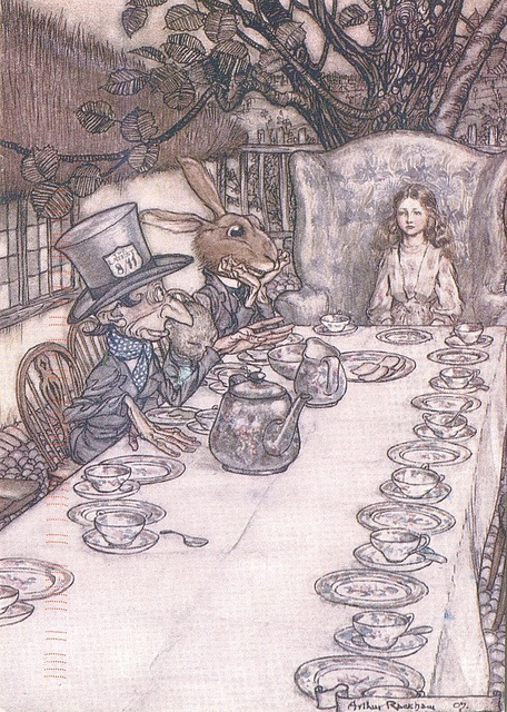'The Mad Hatter's Tea Party' by Arthur Rackham from 'Alice's Adventures in Wonderland' (Lewis Carroll)