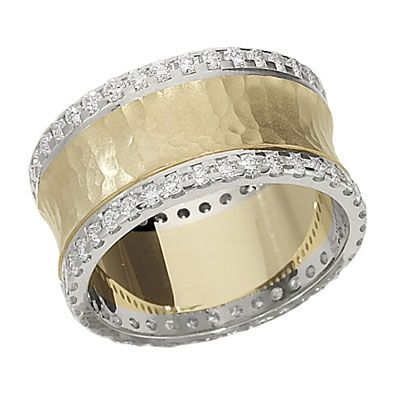 Lovely Hammered wide diamond band from Lieberfarb Imagining this in pink gold too