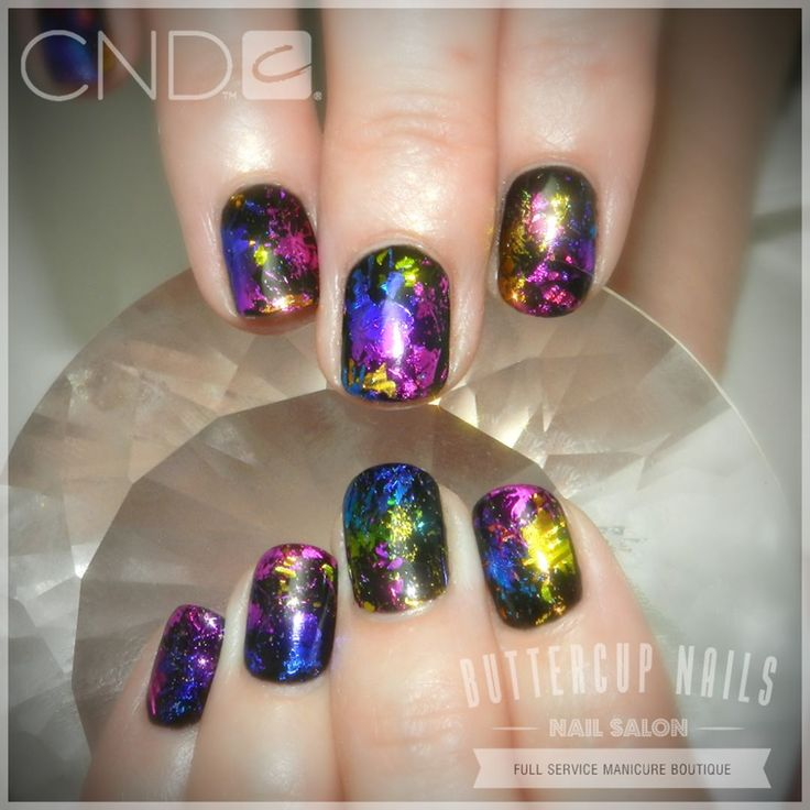 CND Custom Shellac in Black Pool with multi coloured foiling.  #CND #CNDWorld #CNDShellac #Shellac #nails #nail #nailstagram #naildesign #naildesigns #nailaddict #nailpro #nailart #nailartist #nailartdesign #nailartofinstagram #nailartdesigns