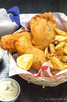 Beer Batter Fish and Chips and Homemade Tartar Sauce - SugarLoveSpices