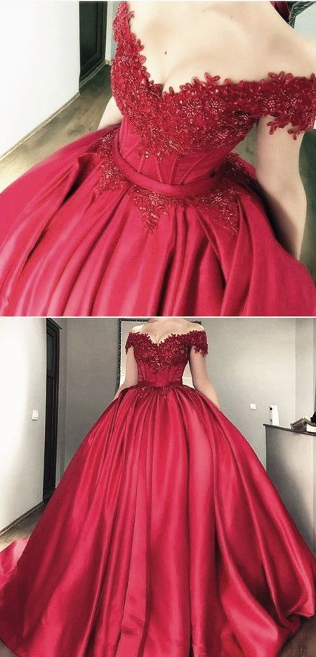 Off the shoulder lace appliques burgundy satin wedding dresses ball gowns