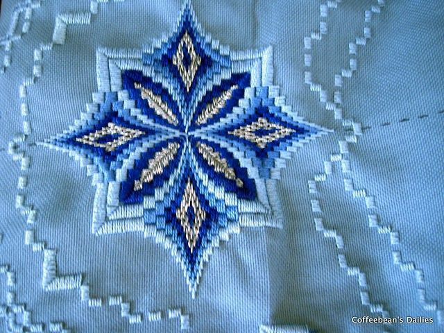 hardanger bargello fusion. The completed design. No glitter I think for mine