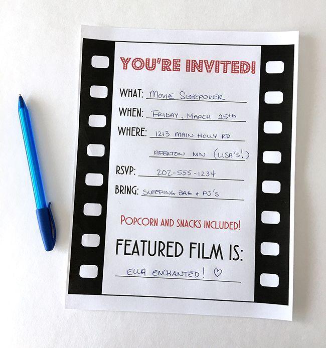 Movie Night Party Invitation free printable