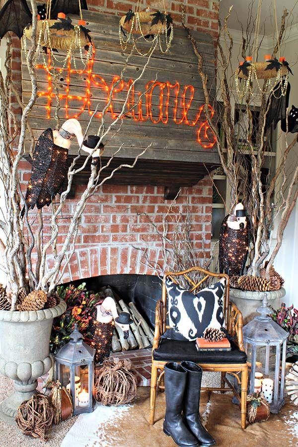 how to decorate for halloween spooky forest living room