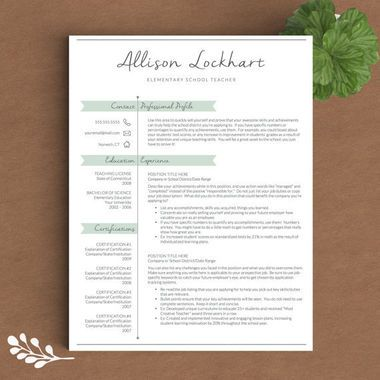 This Allison Lockhart Teacher Resume Template ($15, etsy.com) is the perfect marriage between sweet and sophisticated.