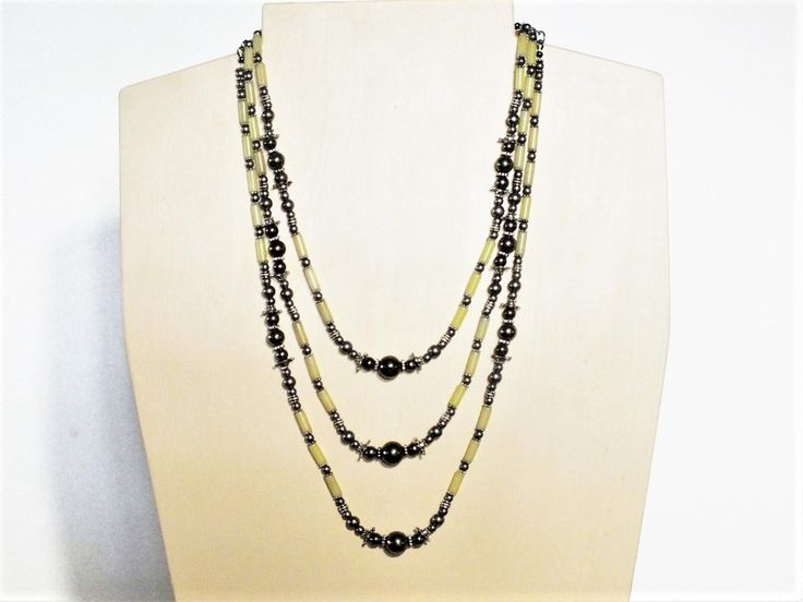 Summer Breeze Necklace - Three Strands - Yellow Serpentine and Pyrite