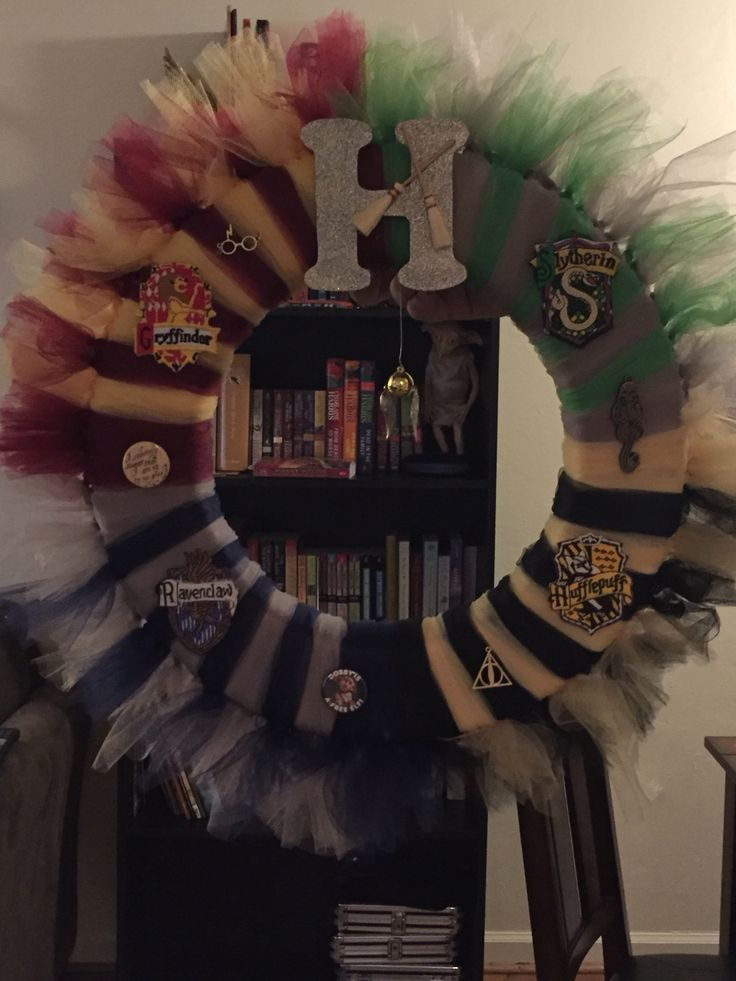 "Hogwarts-inspired wreath - could make with ribbon instead of tulle, and have a sign that says ""Welcome to Hogwarts!"""