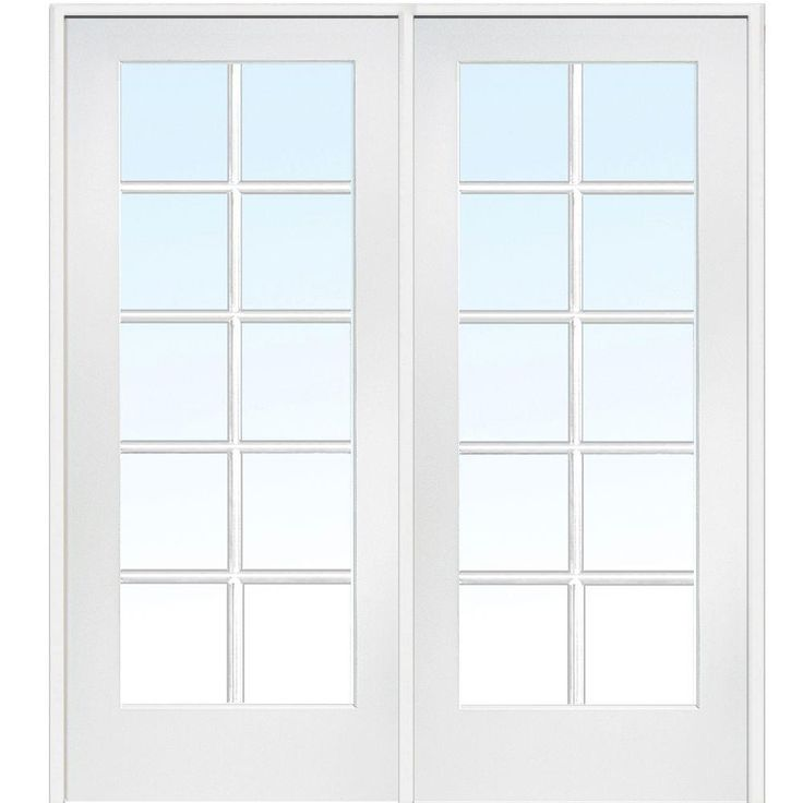 Milliken Millwork 60 in. x 80 in. Classic Clear Glass 10-Lite Composite Double Prehung Interior French Door