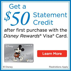 Get $50 Credit after first purchase with the Disney Rewards Visa Card only on www.disney.com