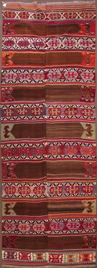 "Konya saph kilim with natural camel hair, all wool, 4'10""x14'7"", late 19th Century"
