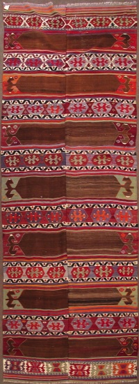 "Konya saph kilim with natural camel hair, all wool, 4'10""x14'7"", late 19th Century"
