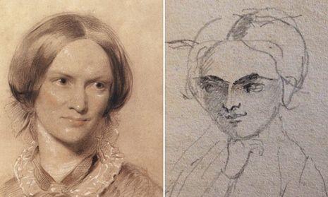 Pencil sketch by Charlotte Brontë (right), which new research reveals is a self-portrait alongside George Richmond's portrait (left).