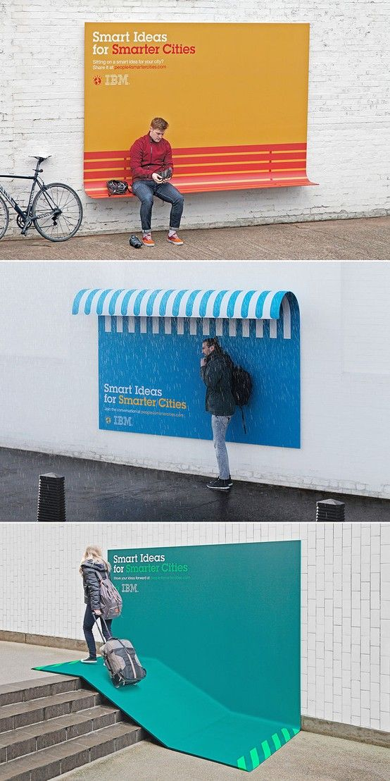 IBM Turns Its Ads Into Useful Urban Furniture. Peut-on y voir un écho à l'universal design? #pub #utile #design