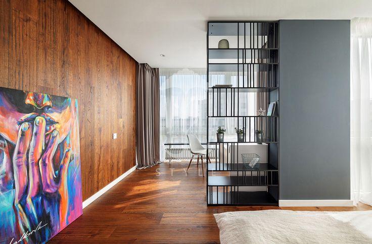 Это пространство объединило две функции: спальни и рабочего кабинета.