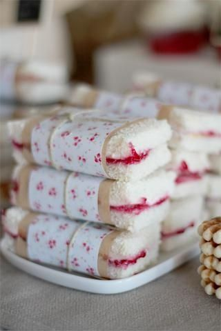 Simple party idea- Wrap easy sandwiches in pretty paper and | http://romanticvalentinedays.blogspot.com