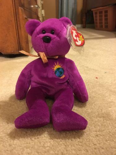 10475ae4313 RARE 1999 ty beanie baby millennium WITH SPELLING error purple bear