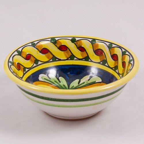 #Souvenir #Plate: #Italy. #Sicily. Bowl. Golden Leafs. #Caltagirone #Ceramics. Hand Made. 14 cm
