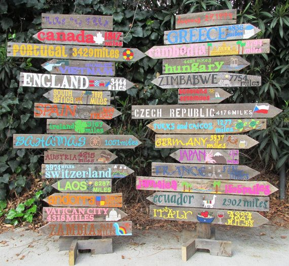 Personalized Driftwood Travel Sign with destinations and mileage--great wedding decor idea!!