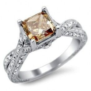 So gorgeous & unique! Chocolate Brown Cushion Cut Diamond Engagement Ring – A Rare But Extravagant Gemstone Makes It The Sweetest Piece 14K White Gold The Total Gem Weight Is Equal To 2.08 Carats. The Diamonds Are 100% Natural. #unusualengagementrings