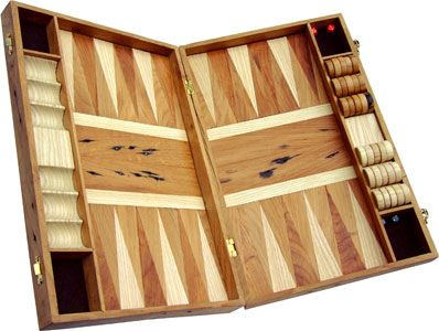 Backgammon board, made from reclaimed oak and ash