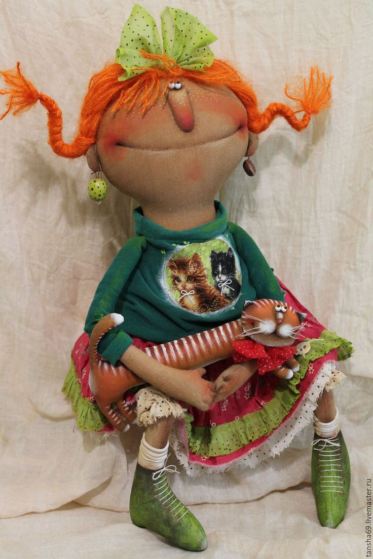 Купить Кысочка - комбинированный, текстильная кукла, ароматизированная кукла, интерьерная кукла, котик, ткань, синтепух
