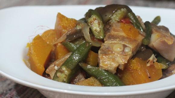 Pinakbet: an Ilocano pork and vegetable stew with shrimp paste
