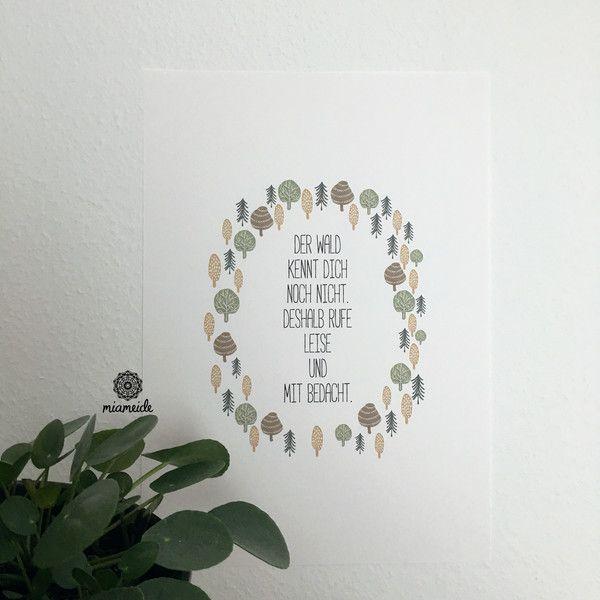 Illustrationen - Poster Illustration Spruch Wald Motivation A3 - ein Designerstück von miameideblog bei DaWanda